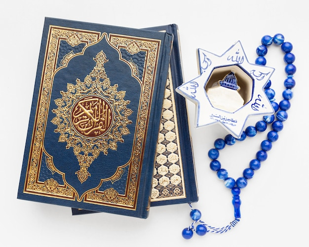 Close-up islamic new year concept with quran book