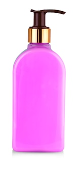 The close up isolated full bottle of pink liquid soap for hands