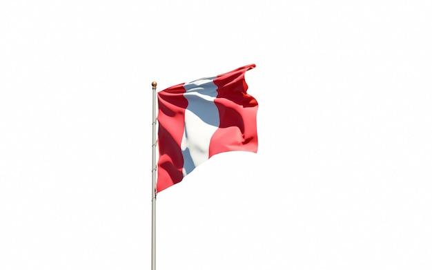 Close up on isolated national flag rendering