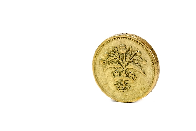 Закройте вверх изолированной монетки одного фунта от великобритании на белой предпосылке