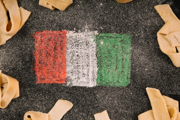 Close-up italian flag and pasta