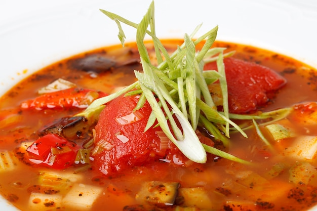 Close-up of italian soup on plate