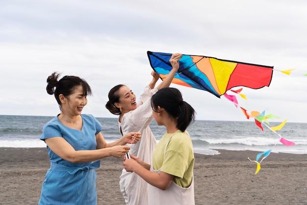 Close up on japanese family having fun