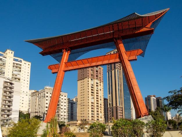 Close up of japanese monument of sao jose dos campos