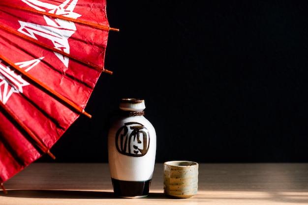 Close up of japanese sake drinking set