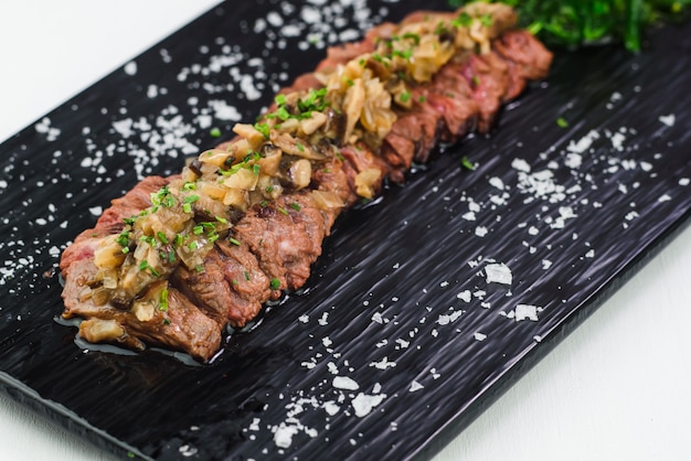 Close up of japanese tuna tataki dish