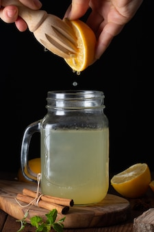 Close-up jar filled with fresh lemonade
