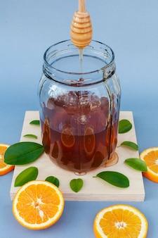 Close-up jar with homemade honey