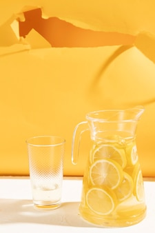 Close-up jar with lemonade slices