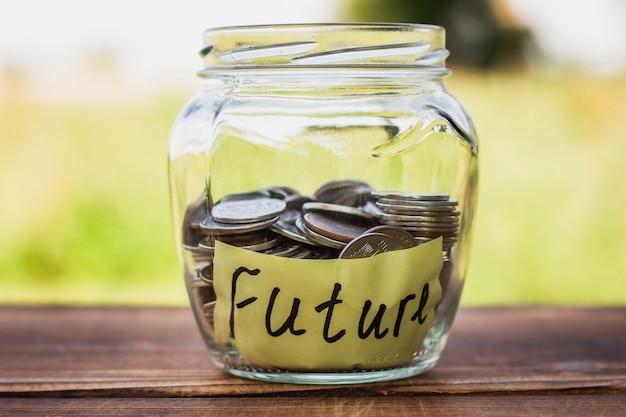 Close-up jar with saving coins