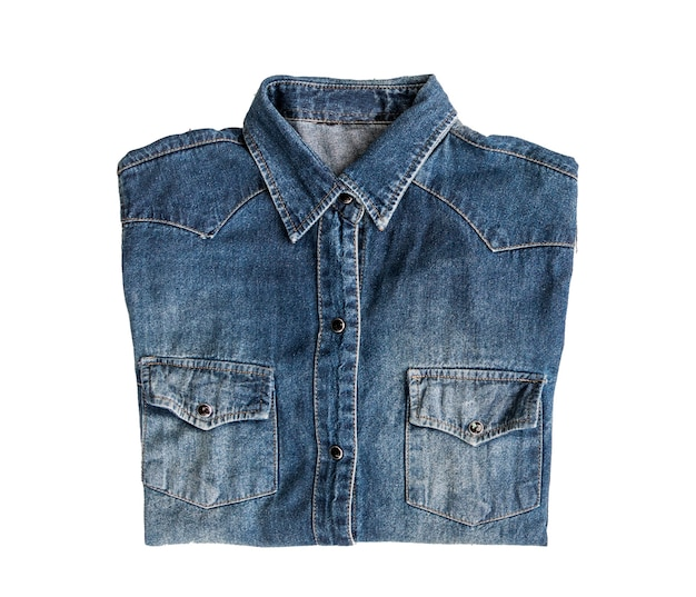 Close up jean denim shirt isolated on white background
