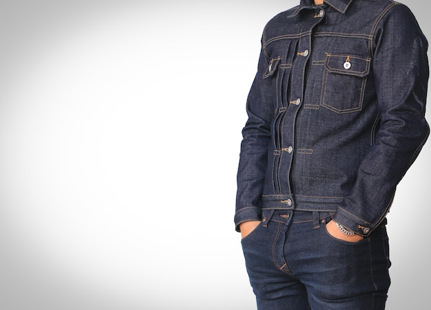 Close up jeans denim jacket