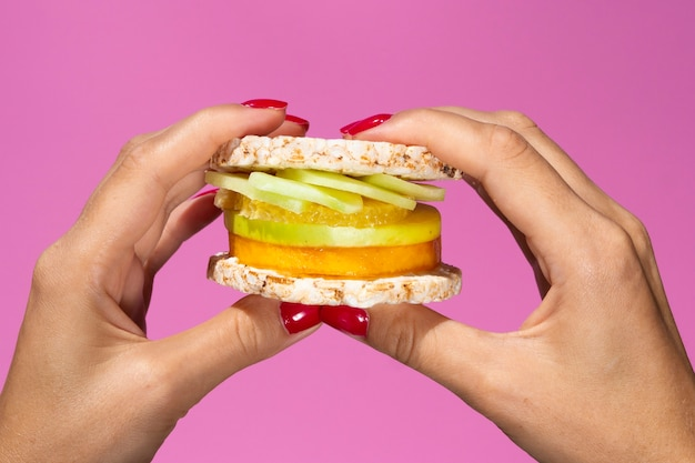Close up juicy sandwich with fruits