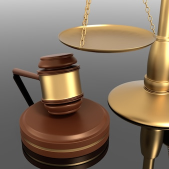 Close up of justice scale and gavel. shot with shallow depth of field.