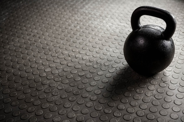 Close up of a kettlebell at the crossfit gym