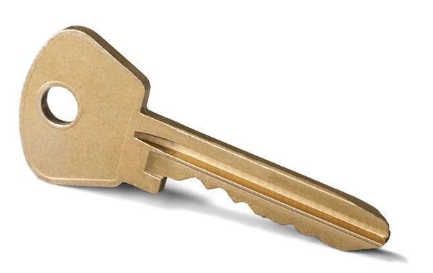 Close up of key on white background