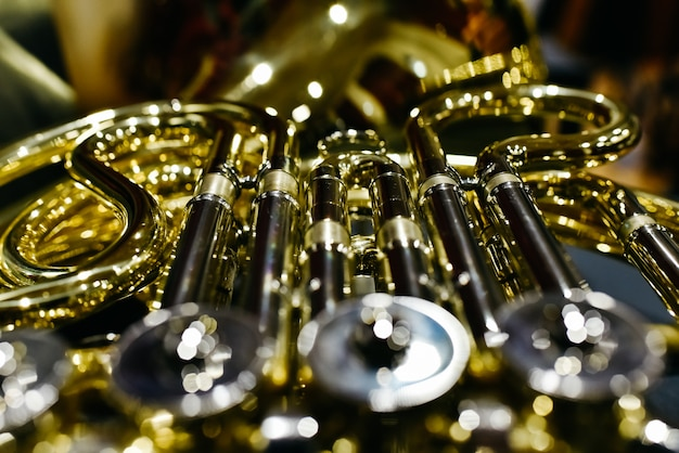 Close-up of the keys and valves of a french horn