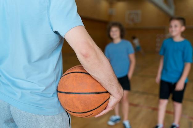 Close up kids at school gym