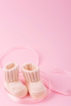 Close up of knitted baby socks