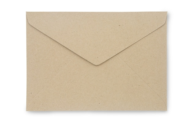 Close up kraft paper envelope isolated