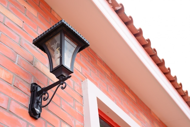 Close-up lamp of a typical british residential house.