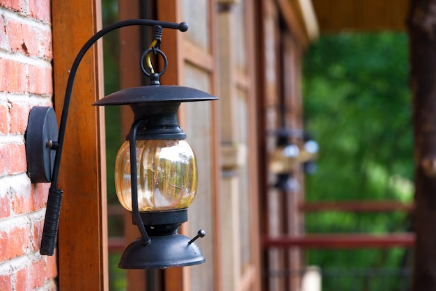 Close-up lantern on the brick wall