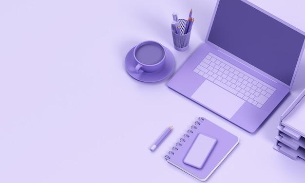 Close up laptop render mono colour background