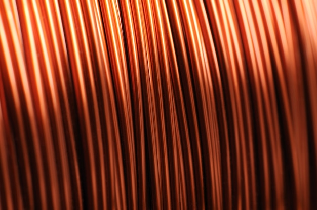 Close-up of a large coil of copper wire