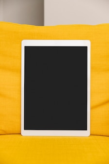 Close-up of a large digital tablet with blank black screen