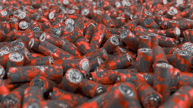 Close up of large pack of rusted batteries with soft focus. 3d render illustration.