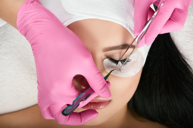 Close up of lashmaking in beauty salon