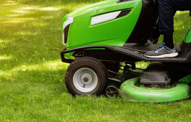 Close-up of a lawn mower tractor