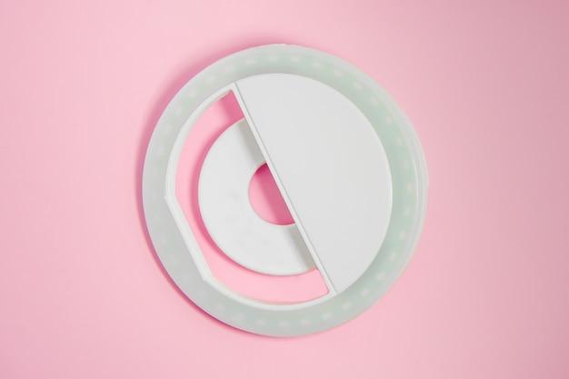 핑크에 클로즈업 led 셀카 원형 링 조명 램프
