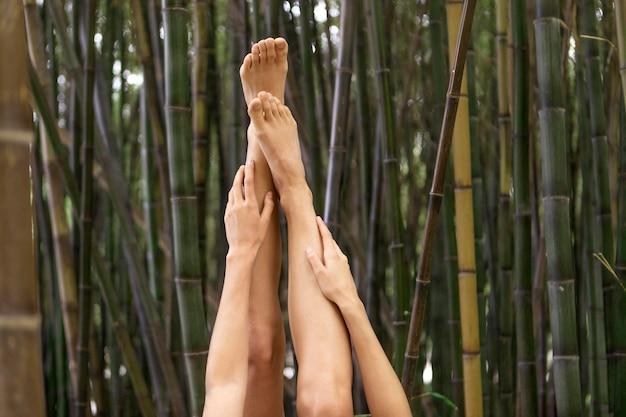 대나무와 함께 포즈를 취하는 다리와 팔을 닫습니다