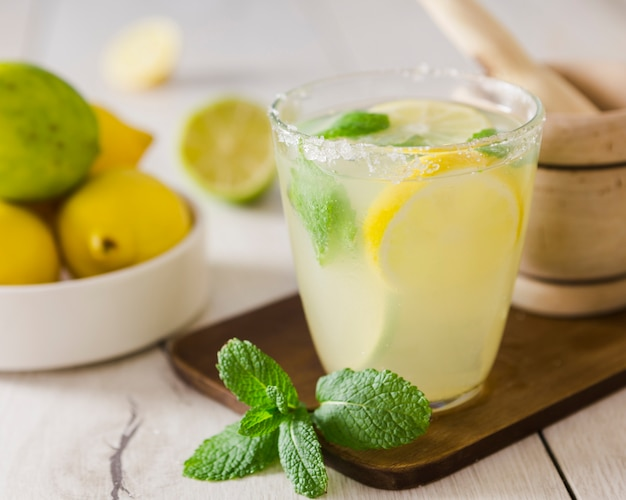 Close-up of lemonade glass with mint