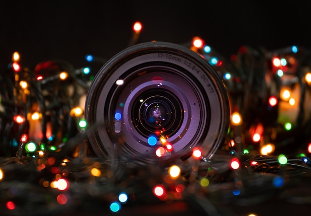 Close up on lens with christmas lights