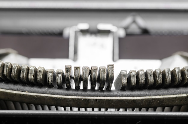 Close up of the letters on an old typewriter.