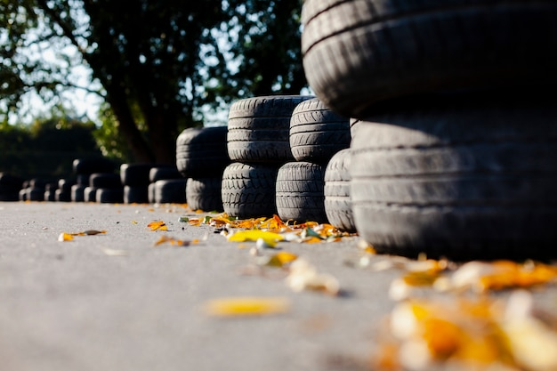 Close up line of tires
