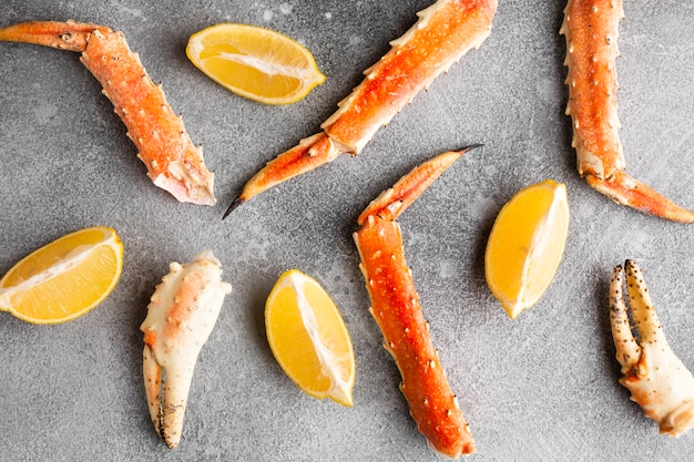 Close-up lobster pieces with lemon