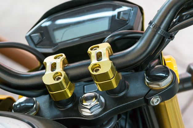 Close up at the locking handle of the motorcycle
