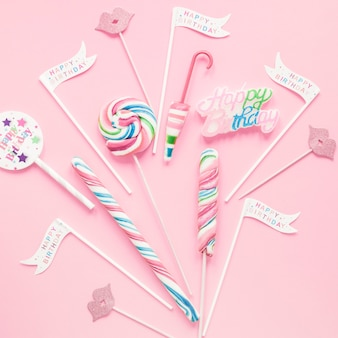 Close-up lollipops and birthday decorations