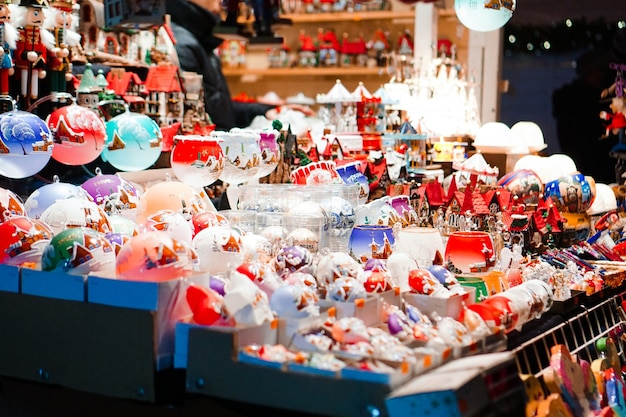 Close up of a lot of toys - christmas market in prague, czech republic
