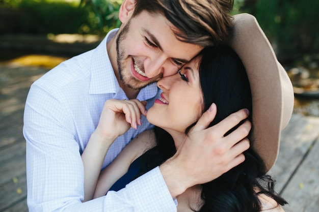 Close-up of loving couple embracing each other