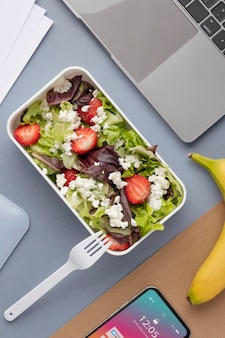 Close up on lunchboxes with delicious food