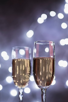Close-up luxury champagne glasses