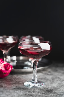 Close-up luxury cocktail glasses
