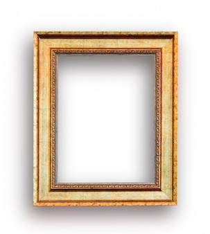 Close up luxury golden wood picture frame
