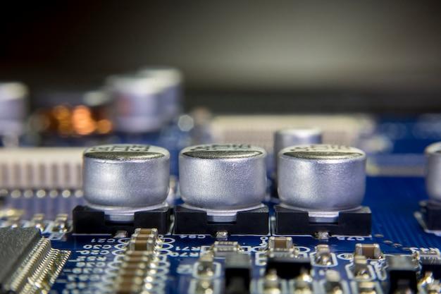 Close up macro of aluminum electrolytic capacitors