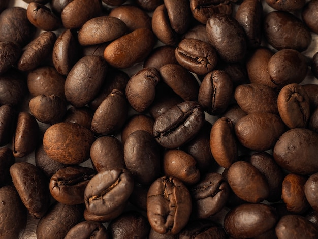 Close-up macro coffee grains texture background