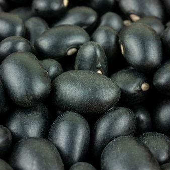 Close up macro a group of black beans